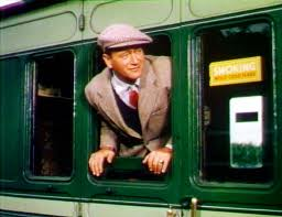 Wayne's character, Sean Thornton, arriving at the depot nearest his parents' birthplace.
