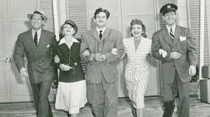 L. to R.: Joel McCrea, Mary Astor, Preston Sturgis, Claudette Colbert, Rudy Vallee.
