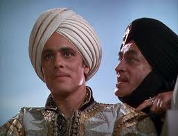 Jaffar suggesting Prince Ahmad go out and meet the citizens of Bagdad.