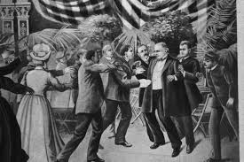 An artist's rendering of the assasination of President McKinley.